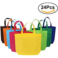 NUOLUX 24pcs bolsos reutilizables no tejidos que llevan la bolsa de asas del ultramarinos para el bolso del regalo del favor de partido de las compras - colores surtidos
