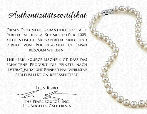 Weiße Japanische Akoya Perlenkette 7,5 – 8mm AA+ Süßwasser Zuchtperlen Princess Länge 45cm – Echtgoldverschluss - 6