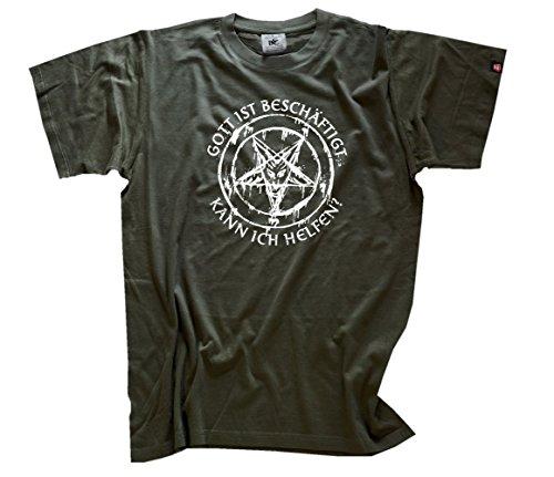 'Shirtzshop-Maglietta da uomo Dio è beschäftigt posso aiutare diavolo Satan, Olive, XXL, T sshop u1605026