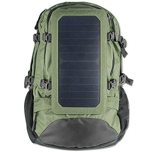 Solartasche, Rucksack mit Solar Charger 6.5 Watt Sonnenkollektor für iPhone, iPad, iPod, Samsung Galaxy-Serie Handys und Tablets, Sonstige Android Handys, Touch-Screen-Tabletten, Windows-Telefone, GPS, eReader, Bluetooth Lautsprecher, Gopro Kameras und viele andere USB-5V -Charged Devices (Armeegrün)
