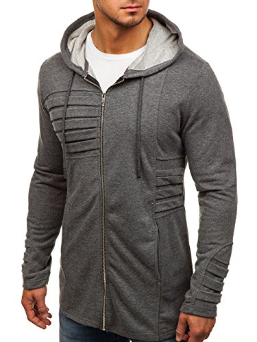 BOLF Herren Kapuzenpullover Sweatjacke mit Kapuze Sweatshirt Pullover Hoodie Lang Mix 1A1 Anthrazit_9095