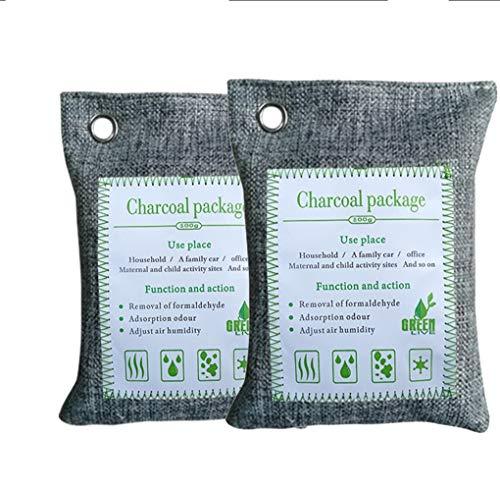 MBEN 2 Piezas de bambú de carbón purificador de Aire de la Bolsa, ambientador, de bambú Activado...