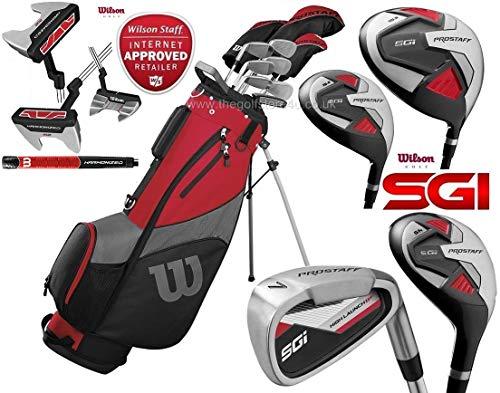 The Golf Store 4u Ltd Wilson ProStaff SGI Herren Golfschläger-Set mit Stahlschaft und Graphitschaft und Holzschäften für 2019, inklusive Regenschirm und verbessertem Harmanized M2 Putter