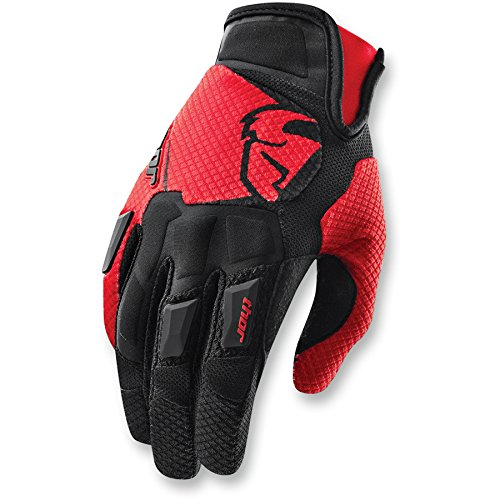 Thor Flow Motocross Handschuhe Cross Enduro Offroad Orange Blau Rot Schwarz (S, Rot) (Atv-rote Handschuhe)