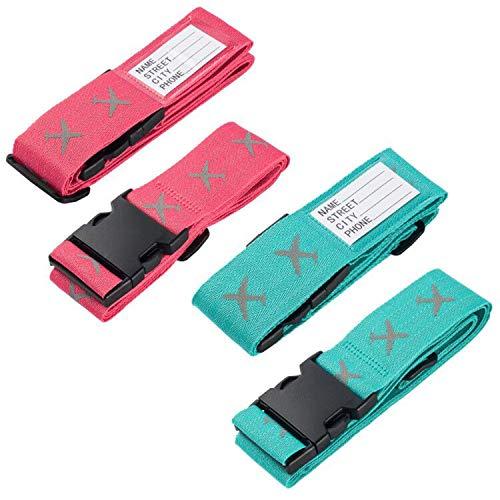 Koffergurt, 4 Stück Gepäckgurt Einstellbare Kofferband Travel Accessories Kofferband Gepäckband zum Sicheren Verschließen der Koffers auf Reisen und Kennzeichnen von Gepäck Grün und Rot