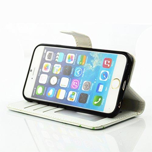 Cozy Hut Rhinestone Custodia per iPhone 6 6S (4,7 Zoll) in PU Pelle Protettiva Strass Bling Diamante Borsa Portafoglio fiore e Farfalle Flip Book Case Protector,Bling di Modo di Cuoio Dellunità di El Bianco e verde