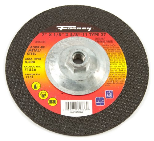 Forney 71836 Grinding Wheel with 5/8-Inch-11 Threaded Arbor, Metal Type 27, A30R, 7-Inch-by-1/8-Inch by Forney -