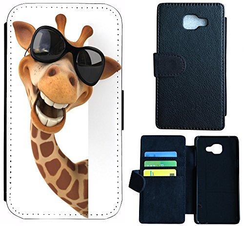 Hülle Galaxy J3 2016 Hülle Samsung J3 J310 Schutzhülle Handyhülle Flip Cover Case für Samsung Galaxy J3 Modell 2016 J310 (1031 Giraffe Animiert Braun Schwarz Weiß) (Weiße Und Stoff Schwarze Giraffe)
