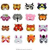 Treasure-House Children's Foam Animal Masks 24 stücke Tiermasken Dschungeltiere Kindermasken Gesichtsmasken Halloween Partymasken für Kinder aus EVA