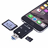 Flash Drive Kartenleser High Speed Lightning Micro SD Card/USB/SDHC/TF/OTG 5-in-2 SD Kartenleser für iPhone iPad PC Android von Okapia(Matt-schwarz)