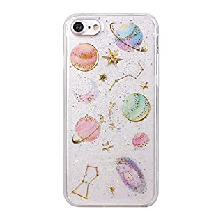 iPhone 7 Case, iPhone 8 Gel Shell Cover, Asnlove Glitter Sparkle Design Shockproof Flexible Silicone Ultra Slim Soft Back Skin Protective Case for Apple iPhone 7/8, Transparent Planet