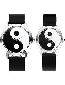 JSDDE Partner-Armbanduhr Tai Chi Quarz Uhr Paaruhren Tai Chi Yin und Yang Partner-Anhänger Freundschaftsketten...