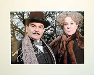 DAVID SUCHET POIROT SIGNED AUTOGRAPH PHOTO PRINT IN MOUNT