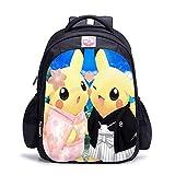 Wadaland Sac à Dos Pokémon pour Enfant, Pikachu Anime Cartoon Motif école Primaire pour Fille garçon Caricature Impression Caricature Sac à Dos Sac à Dos 11 15.5 Zoll