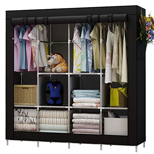 Udear armadio richiudibile cabina salvaspazio guardaroba non tessuto appendiabiti in tessuto con cerniera (nero)