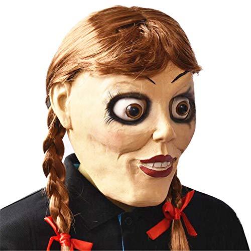 Puppe Kostüm Haar Gruselige - XUMING Halloween-Horror-Puppen-Maske, ganzer Kopf mit dem Haar, weich und bequem für Erwachsene Partei Cosplay-Dekorations-Zusätze