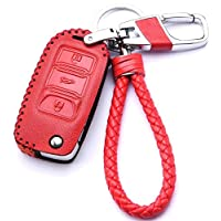 WAFERN Leather Cover Etui Shell for Volkswagen VW Skoda Seat 3-Button Keyless Entry Remote Flip Car Key Fob Holder Protective Case Bag with Braided Key Chain & Key Rings Auto Accessories Gifts A Red