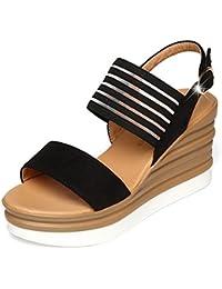 CHNHIRA Damen Unisex Erwachsene Sommer Keilabsatz Schuhe Pantoffeln Sandale(EU 34, Schwarz 1)