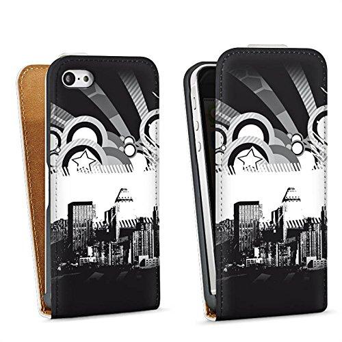 Apple iPhone 5s Housse Étui Protection Coque Ville Étoiles Ville Sac Downflip blanc