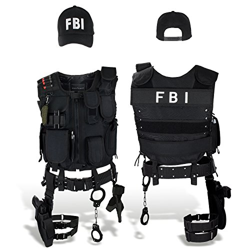 SWAT FBI POLICE SECURITY Kostüm inkl. Einsatzweste, Pistolenholster, Handschellen und Baseball Cap - XL/XXL - FBI