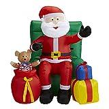 Widmann - aufblasbarer Weihnachtsmann auf Sessel, Dekoration mit Licht