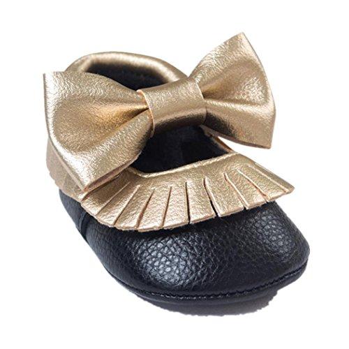 Jamicy® Baby Mädchen Bowknot Quasten Schuhe süße weiche Sohle Prinzessin Freizeitschuhe Schwarz