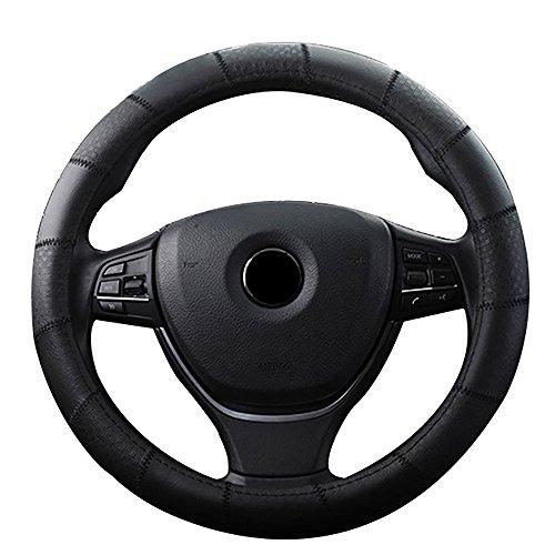 FREESOO Couvre Volant, AUTO ACCESSOIRS En Cuir Housse Volant Universal Pour Voiture/Camion/SUV Noir1 15 Inch 38cm