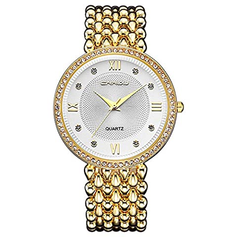 MODIWEN Fashion Trend Diamond Luxury Women Dress Watches, Golden Silver Woman Causal Waterproof Wristwatch