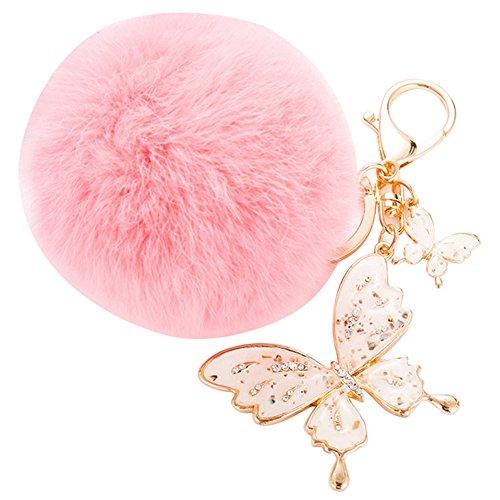 Gosear Flauschige Pelz Ball Hängende Anhänger Schlüssel Ring Kette mit Strass Schmetterlinge Ornament für Tasche Geldbörse Brieftasche Dekoration Pink (Strass-schnalle Handtasche)