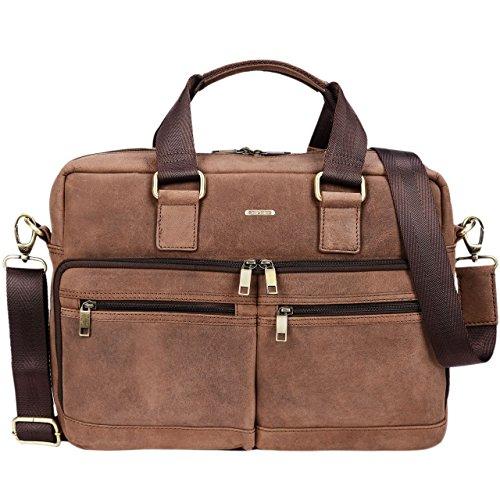 STILORD 'Vito' Vintage Businesstasche Leder Herren Damen 14 Zoll Laptoptasche Umhängetasche Aktentasche Arbeitstasche Rindsleder, Farbe:Torino - braun