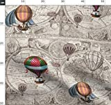 Heißluftballons, Altmodische Landkarte, Weltkarte, Reise,
