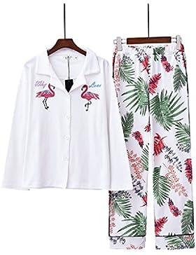 Ellse Modelos De Primavera Y Otoño Ropa para El Hogar Pijamas Traje Suelto De Algodón para Mujer