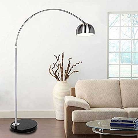 Tedamegaeu Silver Chrome Arco Style Arc Floor Lamp With Marble Base And Lampshades Light Adjustable Dome