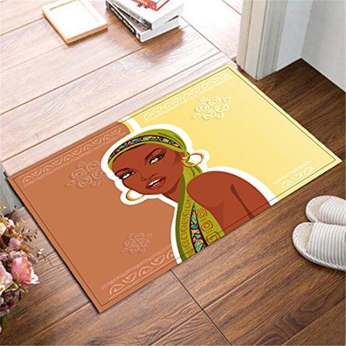 Alfombrilla de Baño Ultra Suave Antideslizante 60X40cm Una niña africana Estera alfombra Para la decoración de la cocina del cuarto de baño