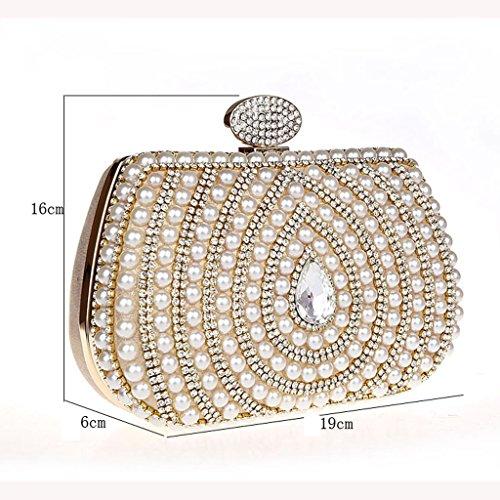 Nuova borsa borsa sera di banchetto mini borsa di perline sacchetto di modo borsa del diamante sacchetto della sposa ( Colore : Nero ) Rosso