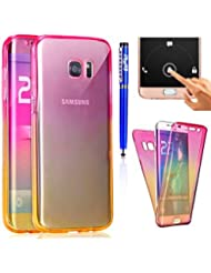 FESELE Coque for Samsung Galaxy S8 Plus,Samsung Galaxy S8 Plus Housse Étui,Gel Soft TPU Transparent Couverture Unique 360 DEgrés de Protection Douille de Téléphone Portable,Dégradé de Couleur Scintillement TPU Case,Ultra Mince Housse de Protection en Silicone TPU Flexible,Slim TPU Silicone Case Cover ,Transparent,Anti-glissant,Résistant Aux Rayures TPU Coque pour Samsung Galaxy S8 Plus + 1 x Stylo,Rose+Jaune