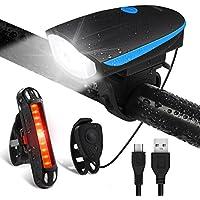 Luci per Bicicletta, Omeril Luci Bicicletta LED Ricaricabili USB con Clacson di 120db, Super Luminoso Luce Bici Impermeabile Set di Luci Bicicletta Anteriore e Posteriore per Bici Strada e Montagna, Bici Bambino - Sicurezza per la Notte