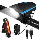 Fahrradlichter Set LED Fahrradlicht Wasserdicht - OMERIL USB Aufladbare Fahrradbeleuchtung Staubdicht mit Fahrradklingel, Fahrradlampe inkl. Frontlicht und Rücklicht Energiesparend
