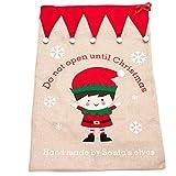 Flair Luxury Boy Elf Christmas Sack Fatto a Mano da Santa's Elves Christmas Sack 85 x 55 cm Sacchi di Natale in Juta