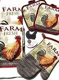 Se ti piace roosters vi innamorerete di questo bellissimo e funzionale cucina Decor set. Tutto ciò di cui avete bisogno è incluso: 2strofinacci, 2presine, un guanto e una retro alto 41/2inch gallo magnete. I colori sono vivaci e lo sguard...