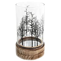 Carousel Home and Gifts Beautiful Tree Glass Wood Candle Tealight Holder