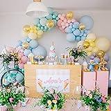 PuTwo Pastell Luftballons 80 Stück Luftballons Bunt in 7 Pastellfarben und Gold Konfetti Luftballons, Latexballons und Durchsichtige Luftballons für Einhorn Party, Partydeko Bunt, Partydeko Pastell