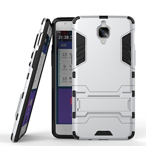 Wkae Case Cover 2 in 1 Nuovo Armour stile duro Hybrid Dual Layer Casi armatura Defender PC fissi con supporto Caso antiurto per OnePlus 3 ( Color : Gray , Size : Oneplus 3 ) Silver