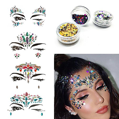 cksteine Stickers Eyes Strass Schmuck Tattoo Meerjungfrau Glitzer Bindi Acryl Crystal Body Schmuck Temporary Tattoo Phantasie Make-up für Musik Rave Festival Party 4 Pack und Free Body Glitter (Das Handwerk Kostüm Ideen)