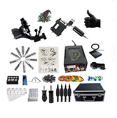 Tattoo-Maschine Professional Tattoo Kit-2 Pcs Tattoo-Maschinen LED-Stromversorgungs-Gehäuse Inklusive 2 Rotationsmaschinen Liner & Shader -