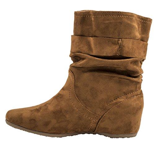Elara Damen Schlupfstiefel | Bequeme Klassiche Stiefeletten | Flache Boots Camel Berlin