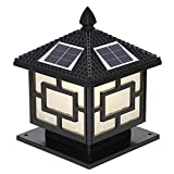 LIBWX Luci solari a Calotta Postale, Faro Europeo a Colonna retrò, luci da Esterno per Esterni da Giardino con luci Impermeabili,Nero,M