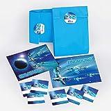 JuNa-Experten 12 Einladungskarten zum Kindergeburtstag Space-Party Weltraum Raumschiff Weltall Spaceshuttle/ Einladungen zum Geburtstag inkl. 12 Umschläge, 12 Party-Tüten / hellblau, 12 Aufkleber