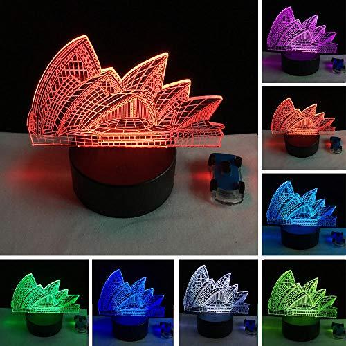 Kreative Birne 3D Sydney Opera House Stilvolle 7 Farbwechsel Nachtlicht Led Schreibtisch Cafe Bar Restaurant Tisch Mall Lampe Geschenke Stimmung Atmosphäre Lichter