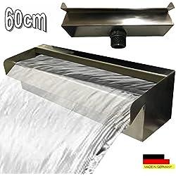 Acero inoxidable cascada agua parte cascada V2A fabricado en Alemania 30,60,90cm